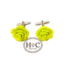 Houseofcuff  Cufflinks Manset Kancing Kemeja French Cuff  FLOWER WAX YELLOW GREEN CUFFLINKS Yellow
