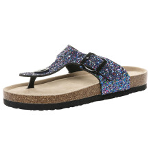 BESSKY Womens Cross Toe Double Buckle Strap Summer Sequined beach shoes Flat Sandals_