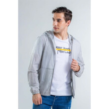 Yishion Woven Single Layer Jacket with Hoodie - Men - 06 Light Grey