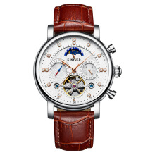 HOTT Super Fashion Moon Phase Men Automatic Mechanical Wristwatches Calendar Week Display World Time Man Watches Genuine Leather