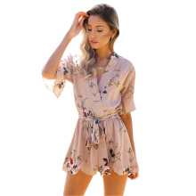 Jantens 2018 summer bohemian floral ruffled jumpsuit casual V-neck