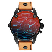 Diesel DZ7408 Daddy Iridescent Men Dual Tone Dial Brown Leather Strap [DZ7408]