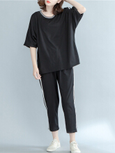 Zanzea Casual Baggy Two-piece Outfits for Women Black XL