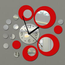 Farfi Acrylic Clock Design Mirror Effect Mural Wall Sticker Home Decor Craft as the pictures
