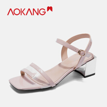 AOKANG New women sandals transparent summer Silver Covered Heel open toe clear jelly shoes ladies roman beach sandals