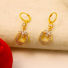 musheng jewelry brass gold-plated inlaid high quality zircon round shape pendant earrings