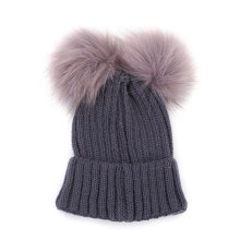 kids Fashion Double Wool Ball Knitted Wool Hat Cotton Knitted Skiing Hat dark grey LZ196