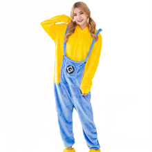 SESIBI S~XL Women Man Flannel Cartoon Lingerie Animal Siamese Pajamas Couples Home Clothes -Minion -