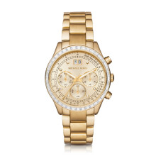 Michael Kors Metal Brinkley - Gold Round Dial 40mm - Stainless Steel - Gold - Chronograph - Jam Tangan Wanita - MK6187