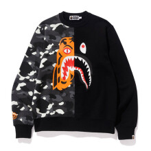 BAPE CITY CAMO TIGER SHARK CREWNECK BLACK