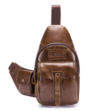 Ekphero Brand Men Leather Multi-pockets Sling Bag Chest Pack with Side Object Holder Coffee