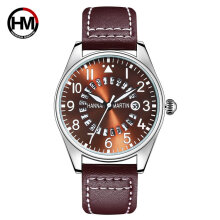 Quartz watches Men's Watch Leather Strap Wrist Watches Hannah Martin HM-KY11-XD Mens Quartz Wristwatch