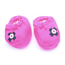 Cribcot Booties with Ribbon - Hot Pink & Black Size 3 -6M