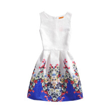SESIBI Size 130~140 Girls Dresses Children Summer Dress Princess Costume Teens Fashion Printing Wear - Blue Colorful Flowers -