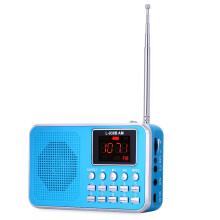 FM AM Mini Radio Digital LCD Speaker MP3 Music Player AUX USB TF with LED Light  #001 Gold