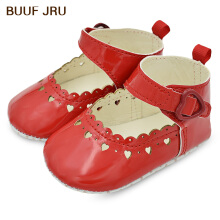 Aosen  BUUF JRU PU Leather Baby Girls Soft Soled Non-slip Footwear Hollow Out Heart Print Toddler Shoes
