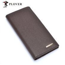 PLOVER GD5923-8B Men Luxury Business Long Wallet Cow Leather Multi-Cards Slot Brown