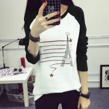 Long-sleeved O-neck Bottoming T-shirt with Cartoon Pattern Print for Women black M tower
