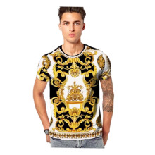 SiYing Men's Casual Crew Neck T-Shirt Creative Vintage Print Slim Short Sleeve