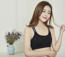 DaiYouNi Open-back Sling English alphabet with sports vest without steel ring bra bra() Black