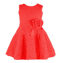 Maodapa Girls Kids Lace Floral One Piece Dress Child Princess Party Dress RD/90 Red One Size