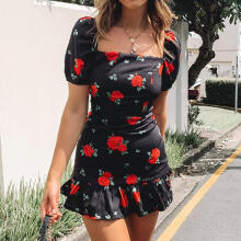Maodapa Fashion Women Square Neck Lantern Sleeve Rose Print Ruffles Hem Bodycon Dress