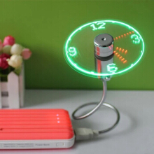 Mini Flexible Gooseneck LED Clock USB Fan For PC Notebook Time Display Cool