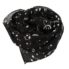 Musical Note Black Deep Yellow White Lightweight Chiffon Scarf Boutique