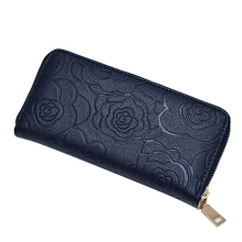 Camellia Pattern Zipper Wallet Long Style Purse Trendy Hand Bag Wallet