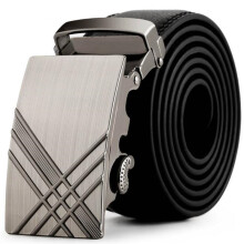 BESSKY Men Leather Automatic Buckle Belts Fashion Waist Strap Belt Waistband_ Black