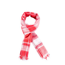 PurCotton Spring and Summer Woman Single-layer yarn-dyed gauze scarves Red Grid 1piece/bag