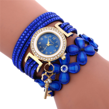 BESSKY Fashion Chimes Diamond Leather Bracelet Lady Womans Wrist Watch-