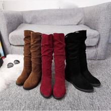 BESSKY Autumn Winter Boots Women Sweet Boot Stylish Flat Flock Shoes Snow Boots -