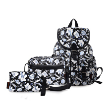 Douguyan Black Canvas Floral Printed Backpack 3 Pieces School Rucksack for Teen Girls