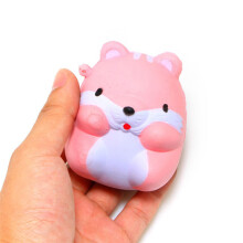 BESSKY Fun Hamster Squishy Decor Slow Rising Kid Toy Squeeze Relieve Anxiet Gift- Pink
