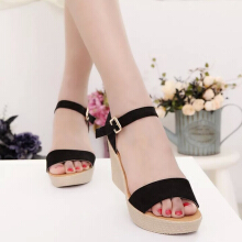 Women Fashion Wedge Heels Suede Sandals
