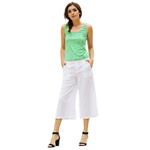 Simple Scoop Collar Sleeveless Cotton Blend Tank Top for Women
