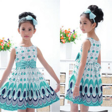 BESSKY Kids Girls Bow Belt Sleeveless Bubble Peacock Dress Party Clothing_