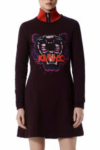 Kenzo Women's Prune Fit and Flare Tiger Dress Paris Cotton