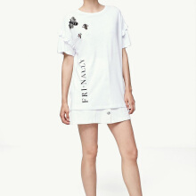 STRADIVARIUS T-Shirt with Jewel Appliques - White