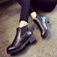 BESSKY Women Leather Low Flat Block Heel Chelsea Ankle Boots Shoes _