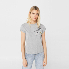 MANGO Cotton Patch T-shirt - Gray