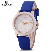 SKONE 9306 - 1 Women Quartz Watch Genuine Leather Strap Artificial Diamond Dial Wristwatch