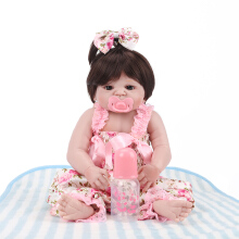 Girl Doll Reborn Full Silicone Vinyl Body Children Play House Toys Pink