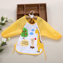 Cute Infant Baby Unisex Water Resistant Cartoon Letter Print Pattern  Anti-dressing Gowns Round Collar Lacing Elastic Bibs YELLOW GIRAFFE