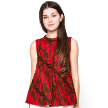 FBW Ballina Front Pleat Batik Blouse Parang - Red