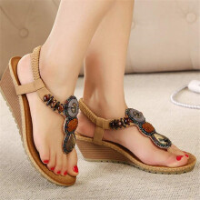 BESSKY Summer Vintage Women Sandals Fashion Beach Beads Sandals Women Shoes_