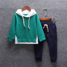 BESSKY Toddler Baby Kid Boy Girl Outfits Hooded Printing T-shirt Tops+Pants Clothes Set_