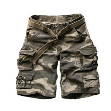 European and American fashion new men's large size multi-pocket camouflage overalls men loose Shorts Green 3XL