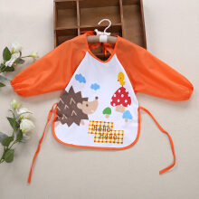 Cute Infant Baby Unisex Water Resistant Cartoon Letter Print Pattern  Anti-dressing Gowns Round Collar Lacing Elastic Bibs ORANGE HEDGEHOG
